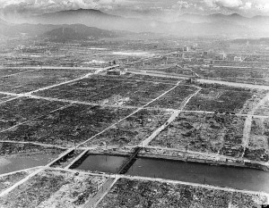 A few steel and concrete buildings and bridges are still intact in Hiroshima after the Japanese city was hit by an atomic bomb by the U.S., during World War II Sept. 5, 1945.  (AP Photo/Max Desfor)